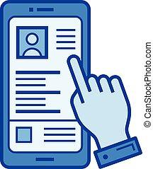 conmovedor, smartphone, línea, icon., dedo