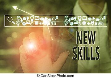 connaissance, capacités, nouveau, conceptuel, photo, skills...