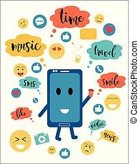 connaissance, plat, smartphone, concept, illustration., coloré, communication, vecteur, social, -, communication, website., par, messages, internet, vidéo, réseaux, style, dessin animé, nouvelles, bavarder