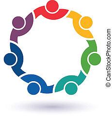 connecté, 7 personnes, autre., heureux, portion, icône, équipe, congress., vecteur, groupe, amis, concept, chaque