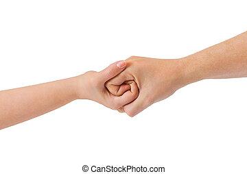 connecté, mains