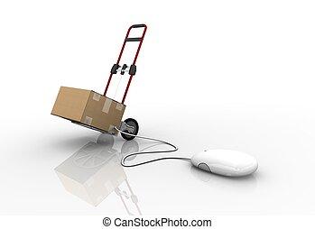 connecté, paquets, tas, mondiale, souris
