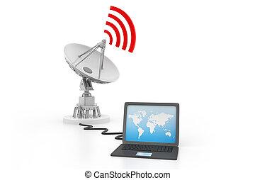 connecté, satellite, ordinateur portable, plat