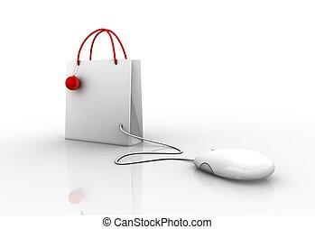 connecté, souris, informatique, achats, noël