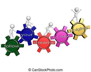 connecté, suivre, business, rêves, symbolizing, réaliser, gens, ascendant, nouveau, éléments, être, marche, réussi, engrenages, équipe, mots, nécessaire, ton, but, hauteurs