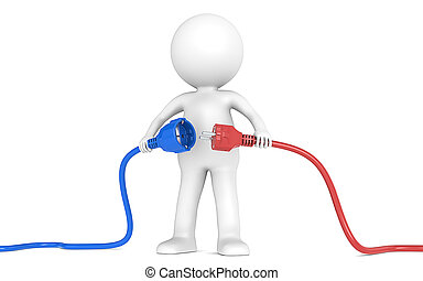 3D little human character holding blue and red Power Cable. Male and Female plug . People series.