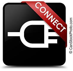 Connect black square button red ribbon in corner
