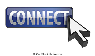connect button illustration with cursor design over white...