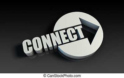 Connect Concept With an Arrow Going Upwards 3D