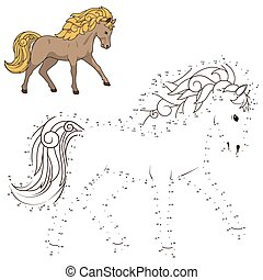 Connect dots to draw wild horse educational game - Connect...