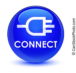 Connect glassy blue round button