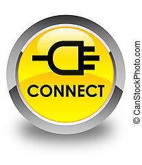 Connect glossy yellow round button