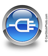Connect icon glossy blue round button