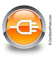 Connect icon glossy orange round button