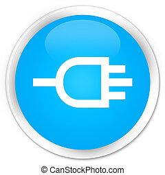 Connect icon premium cyan blue round button