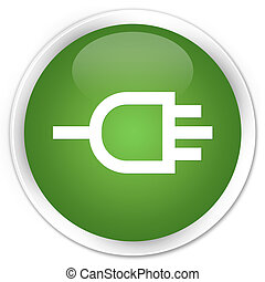 Connect icon premium soft green round button