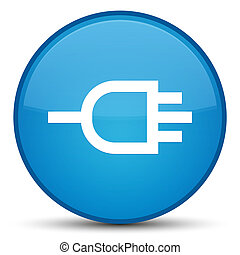 Connect icon special cyan blue round button