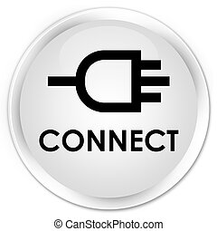 Connect premium white round button