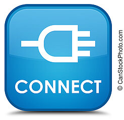 Connect special cyan blue square button