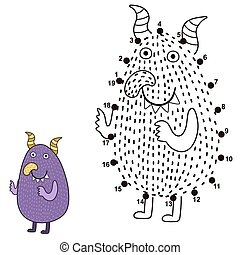 Connect the dots and draw a cute monster