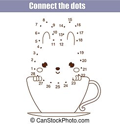 Connect the dots by numbers children educational game....