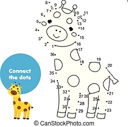 Connect the dots by numbers children educational game. Animals theme, cartoon giraffe