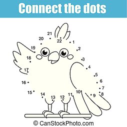 Connect the dots by numbers children educational game. Animals theme, cartoon parrot