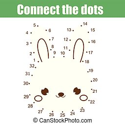 Connect the dots by numbers children educational game. Animals theme, cute rabbit