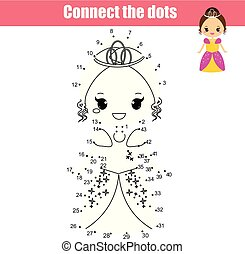 Connect the dots by numbers children educational game. Cute princess
