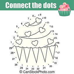 Connect the dots by numbers children educational game. Food theme, cupcake