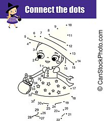 Connect the dots by numbers children educational game. Halloween theme, cute little witch