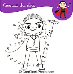 Connect the dots by numbers children educational game. Halloween theme, little vampire