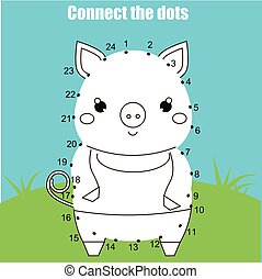 Connect the dots by numbers children educational game. Printable worksheet activity. Animals theme, pig