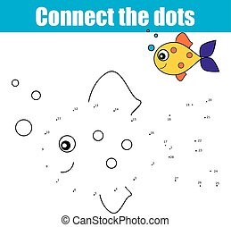 Connect the dots by numbers educational children game, kids activity, coloring page