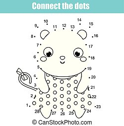 Connect the dots by numbers. Educational game for children and kids. Animals theme, mouse