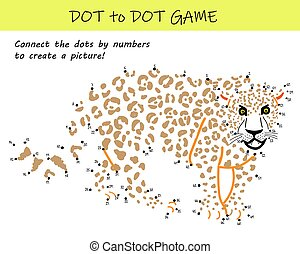 Connect the dots by numbers to reveal a cheetah in this dot-to-dot educational challenge for kids. Printable worksheet.