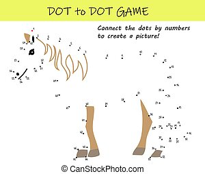 Connect the dots by numbers to reveal a horse in this dot-to-dot educational challenge for kids. Printable worksheet.