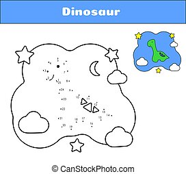 Connect the dots. Dino print cards for educational game. Coloring book Cartoon character dinosaur. Cute diplodocus and clouds, moon, star. Vector illustration black and white page with color example