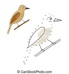 Connect the dots game bird cartoon doodle hand drawn vector illustration