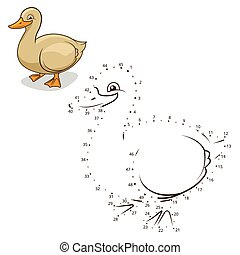 Connect the dots game duck vector illustration