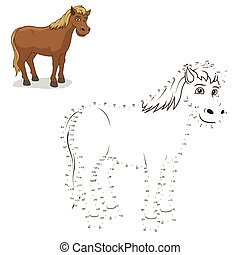 Connect the dots game horse vector illustration - Connect...
