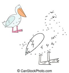 Connect the dots game pelican vector illustration