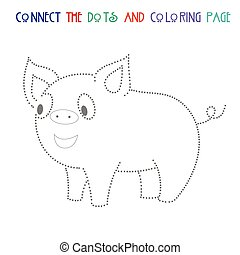 Connect the dots game pig vector illustration