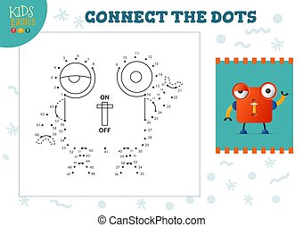 Connect the dots kids game vector illustration. Kindergarten children educational activity with joining dot to dot worksheet with funny big eyed cartoon robotic character