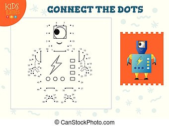 Connect the dots kids game vector illustration. Preschool children drawing activity with joining dot to dot funny one eyed robot character