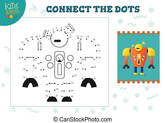 Connect the dots kids game vector illustration. Preschool ...