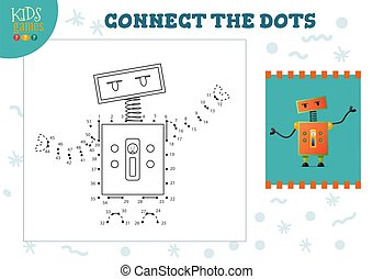 Connect the dots kids game vector illustration