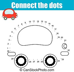 Connect the dots numbers children educational game. ...