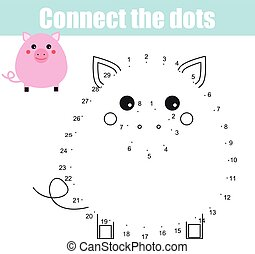 Connect the dots numbers children educational game. Printable worksheet activity. Animals theme, pig