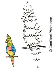 Connect the dots to draw the cute parrot and color it....